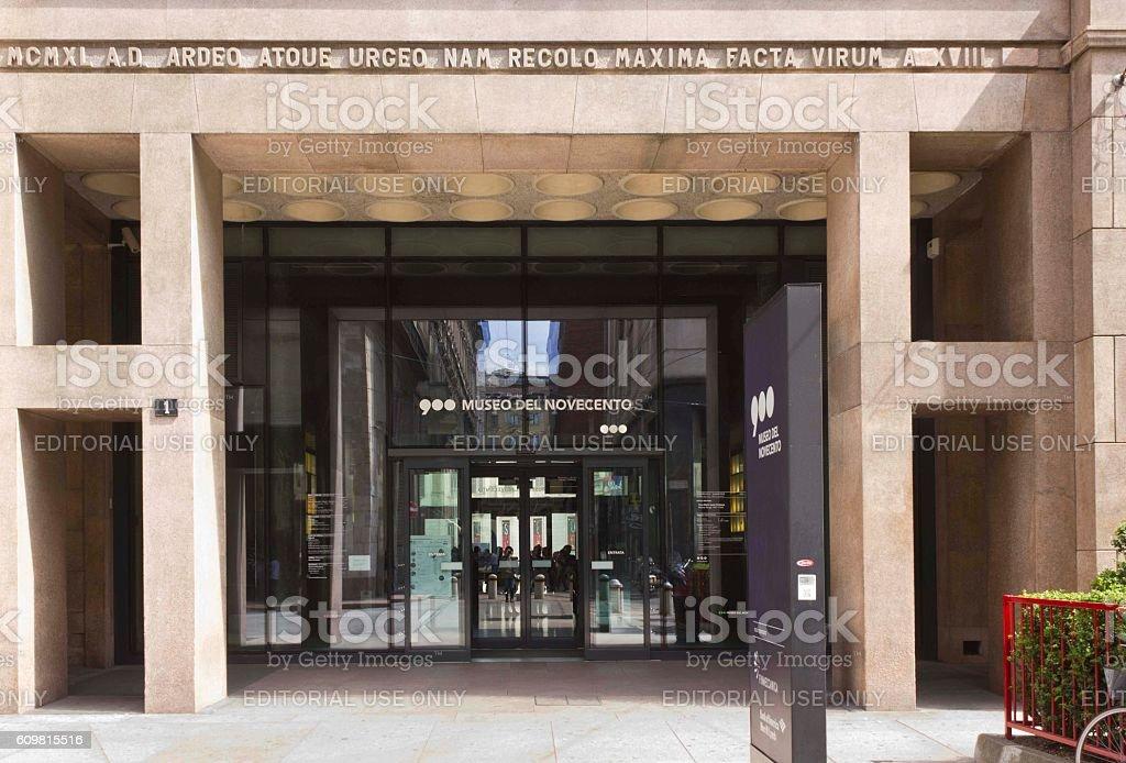 Museo Del 900 Milano.Entrance Doorway Of Museo Del Novecento In Milan Stock Photo More