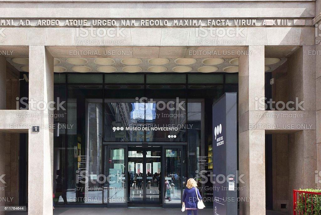Entrance doorway of Museo del Novecento in Milan stock photo