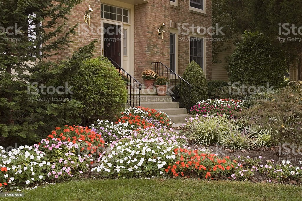 Entrance flower beds royalty-free stock photo