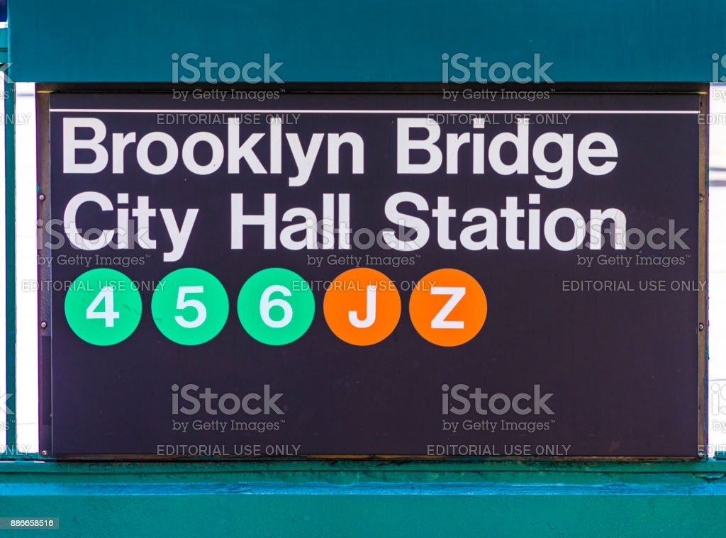 entrance for metro City Hall Station and Brooklyn Bridge with line 4,5,6,j,z downtown Manhattan, New York, USA stock photo