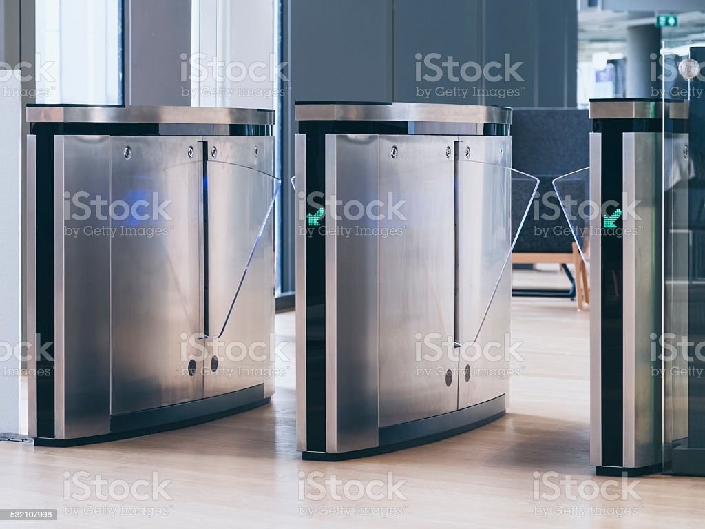 Entrance Gate Access security system technology stock photo