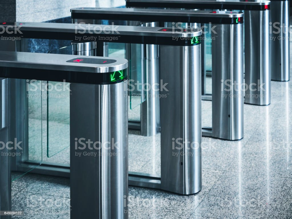 Entrance gate card Access Building Security system stock photo