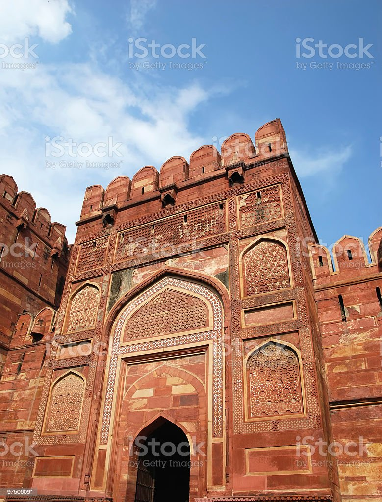 Entrance Gate in Agra fort royalty-free stock photo