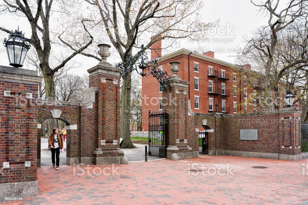 Entrance gate in Harvard Yard of Cambridge MA America stock photo