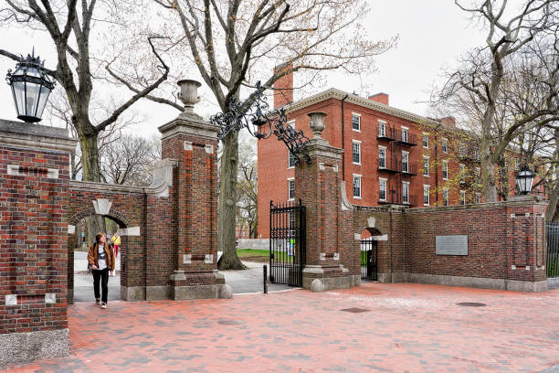 entrance gate in harvard yard of cambridge ma america - harvard university stock photos and pictures
