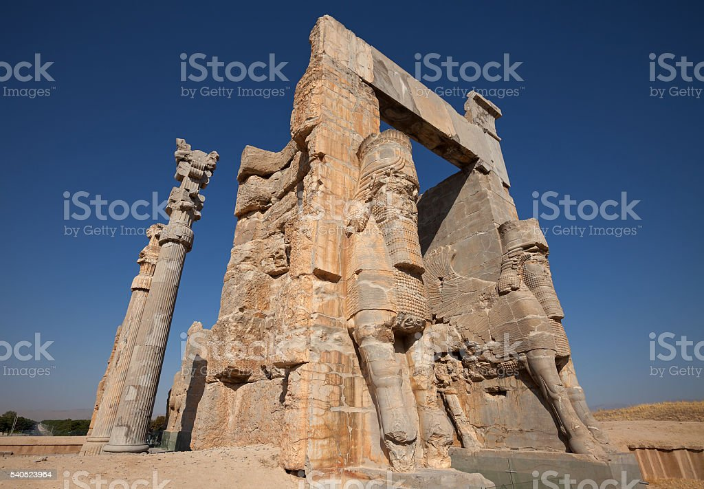 Entrance Gate of All Nations from Ruins of Shiraz Persepolis stock photo