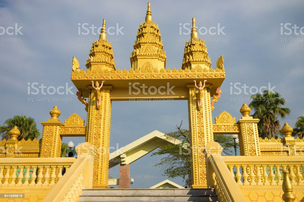 Entrance gate of Khmer temple in Asia stock photo