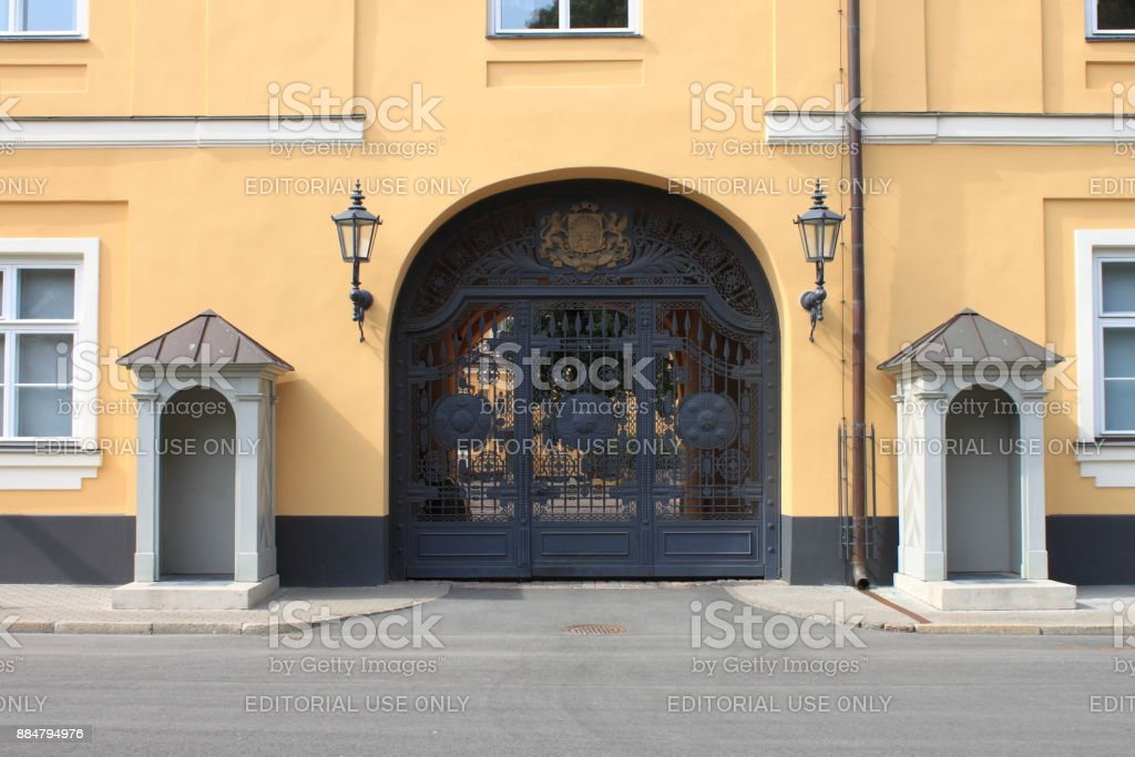 Entrance gate of Riga Castle, Latvia stock photo