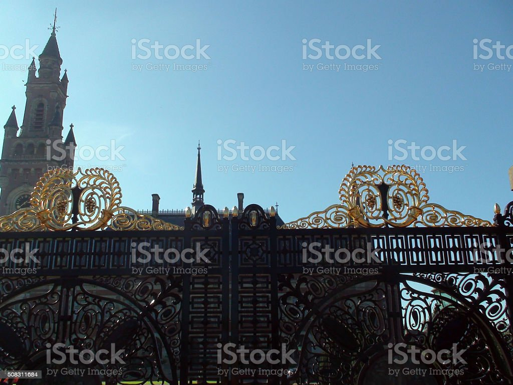 Entrance Gate Of The Hague Peace Palace In The Netherlands.Europe stock photo