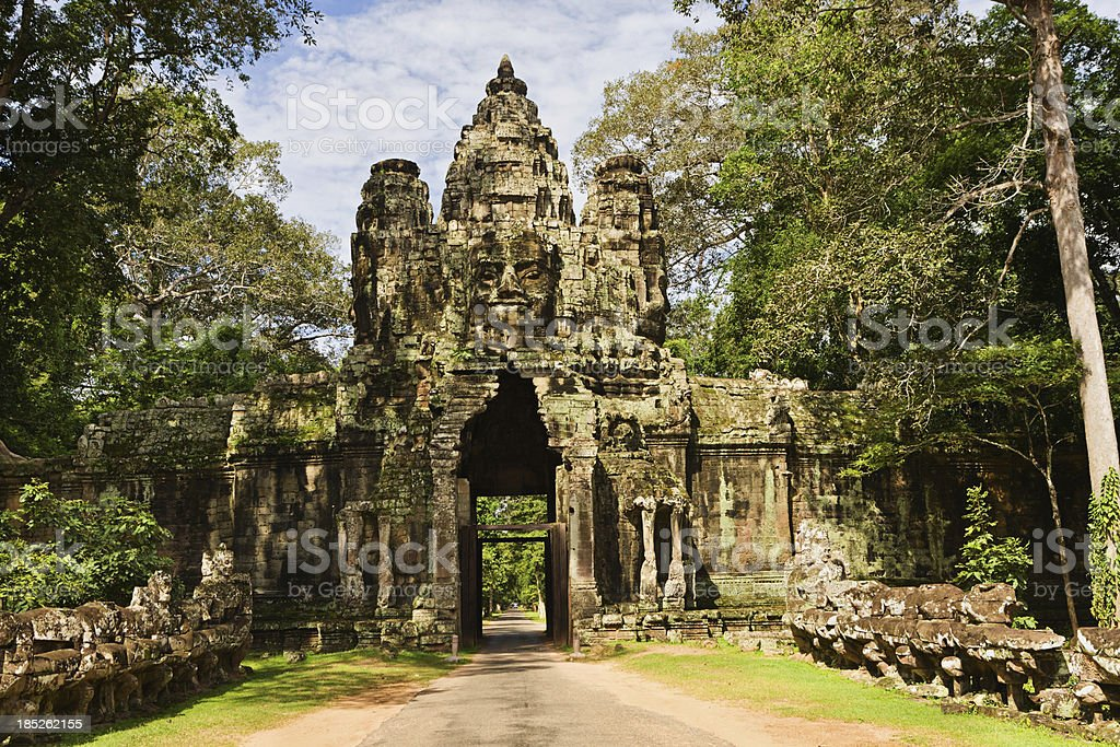 Entrance gate to Angkor Thom stock photo