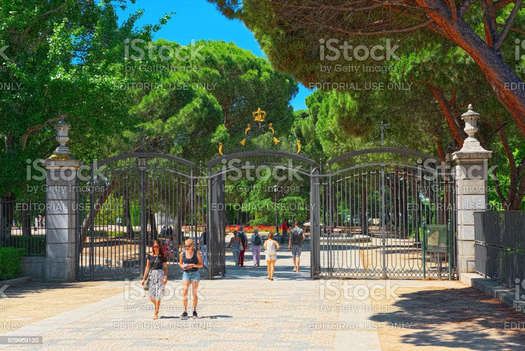 Entrance gate to Sabatini Gardens (Jardines de Sabatini) are part of the Royal Palace in Madrid, Spain, and were opened to the public by King Juan Carlos I in 1978.