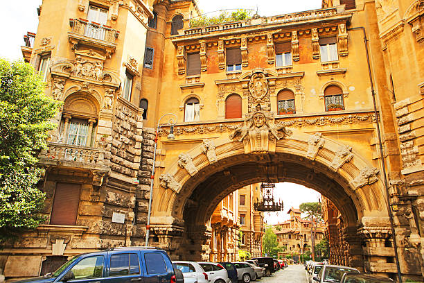 Entrance gate to the Coppede district at Via Dora Rome stock photo