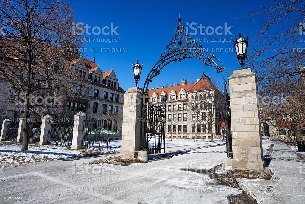 Entrance gate,  University of Chicago royalty-free stock photo