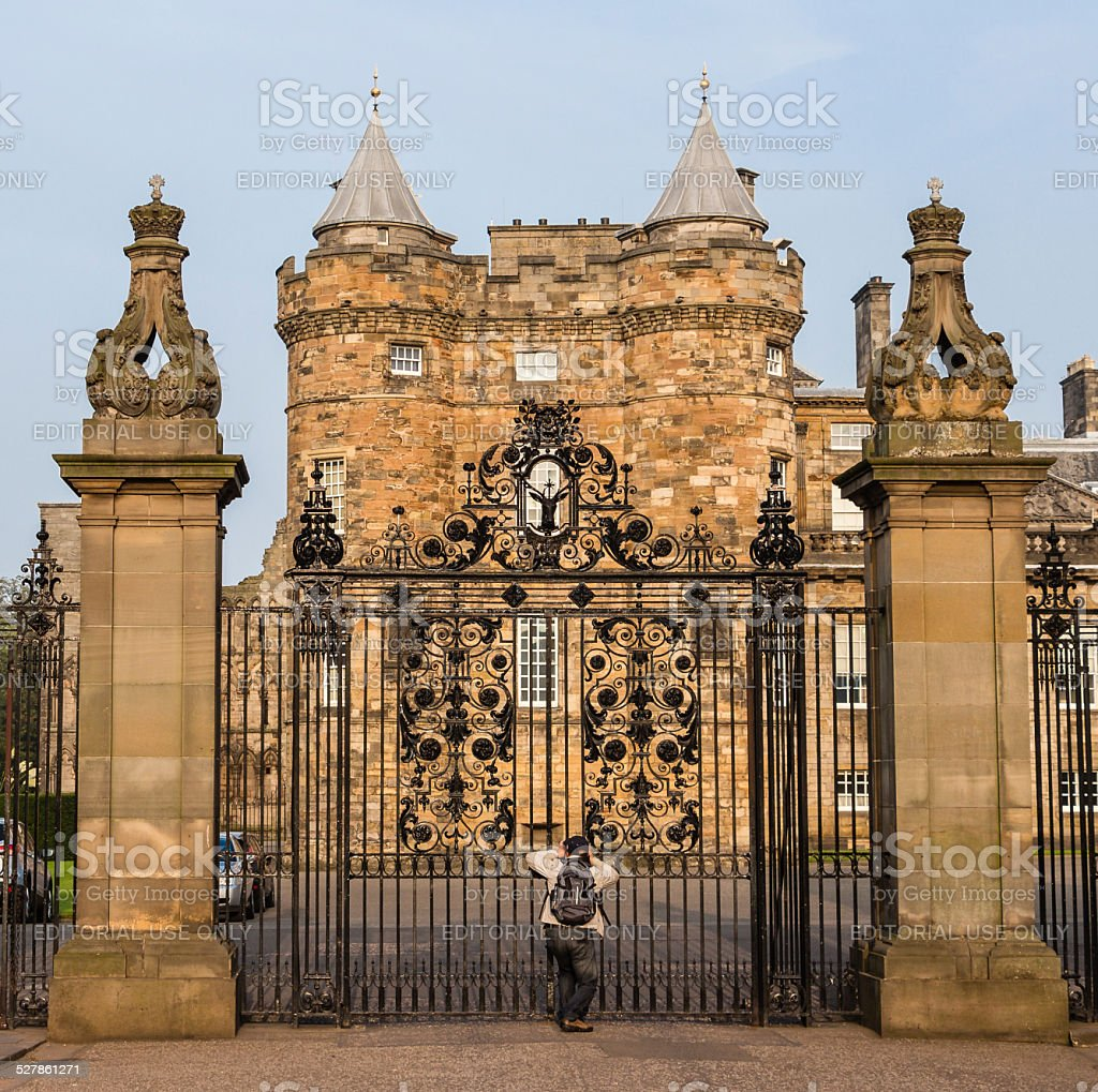 Entrance gates to the Palace of Holyroodhouse in Edinburgh, Scot stock photo
