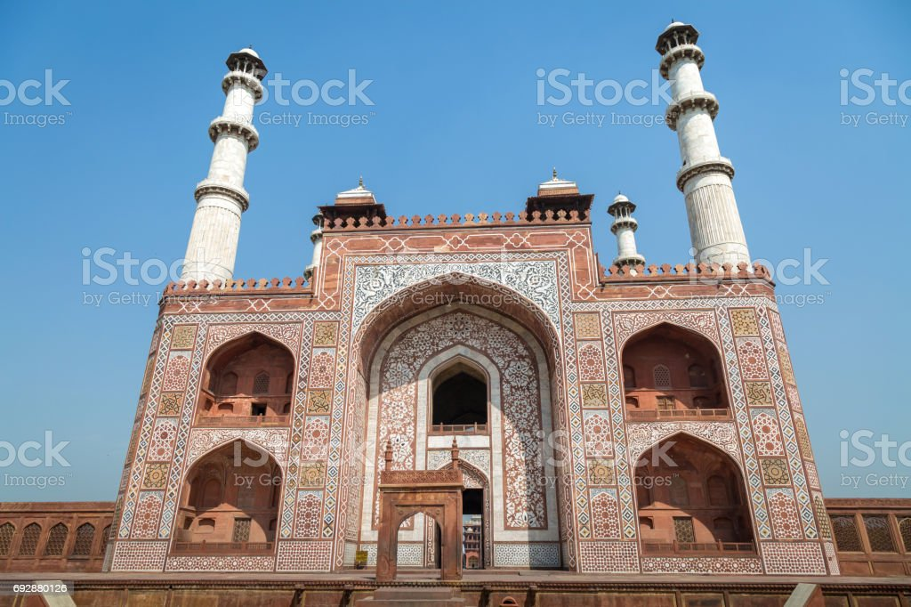 Entrance gateway to Akbar's Tomb at Sikandra Agra - A classic Mughal Indian architectural structure of Medieval India. stock photo