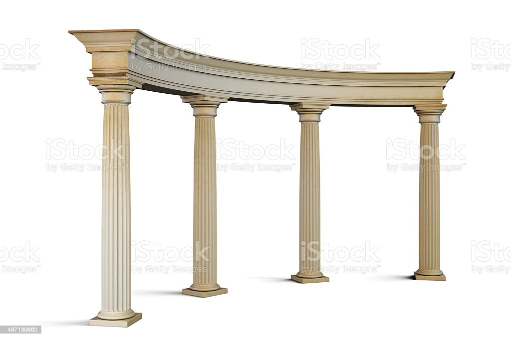 Entrance group with columns in the classical style stock photo