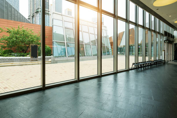 Entrance hall and empty floor tile, interior space stock photo