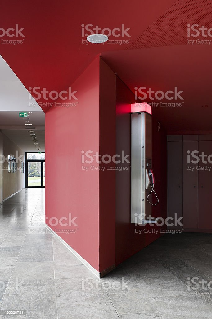 Entrance hall and public phone royalty-free stock photo
