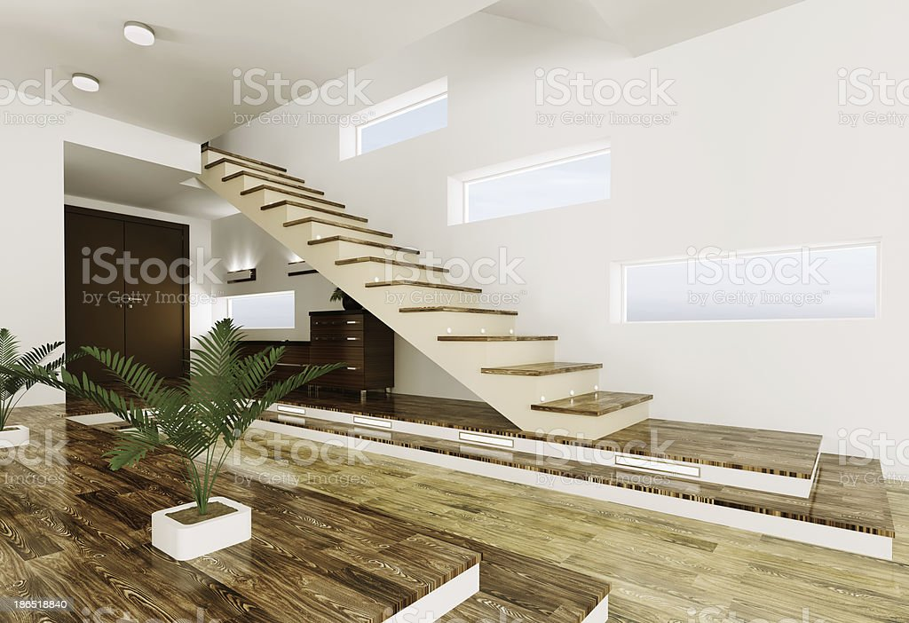 Entrance hall interior 3d render royalty-free stock photo