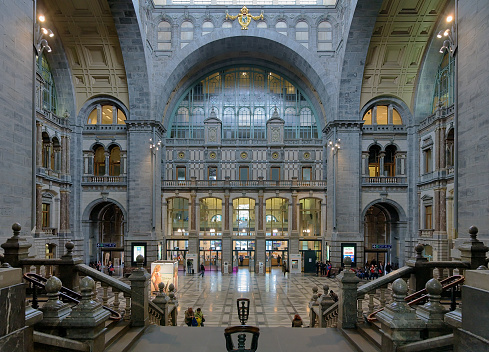 Entrance Hall of Antwerp Central railway station, Belgium