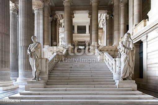 Brussels courthouse public entrance hall. Architecture and statues date from 1883 and is built in eclectic style.