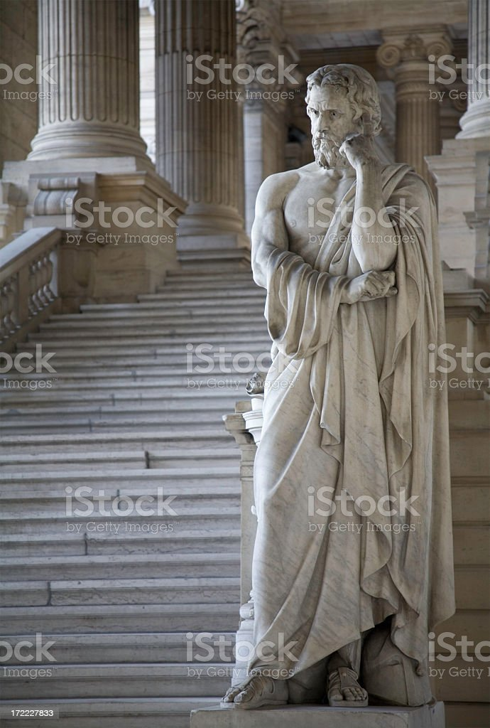 Entrance hall of Brussels Courthouse Fragment of the Brussels courthouse public entrance hall. Architecture and statues date from 1883 and was built in eclectic style, by order of Belgian King Leopold II. Architect was Joseph Poelaert. Ancient Stock Photo