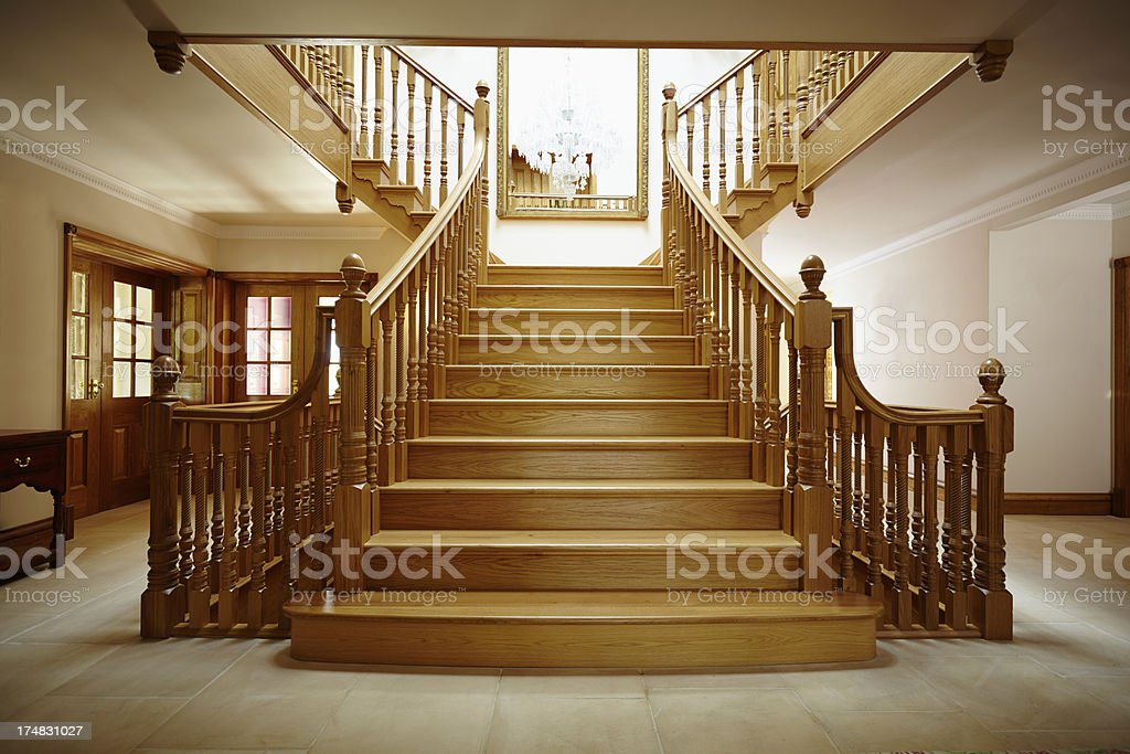 Entrance Hall with oak staircase stock photo