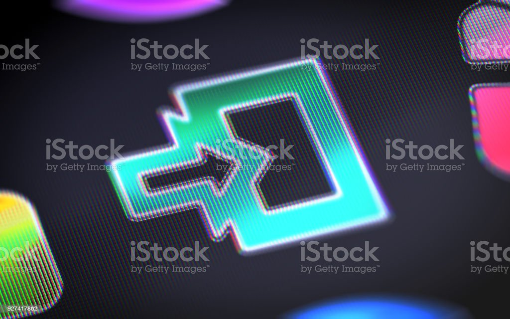 Entrance icon on the screen. stock photo