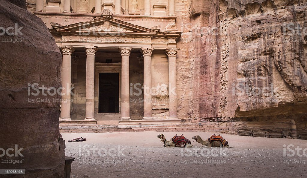 Entrance in Ancient City of Petra stock photo