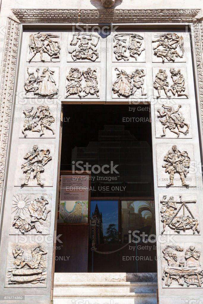 entrance in Chiesa di San Fermo Maggiore in Verona stock photo