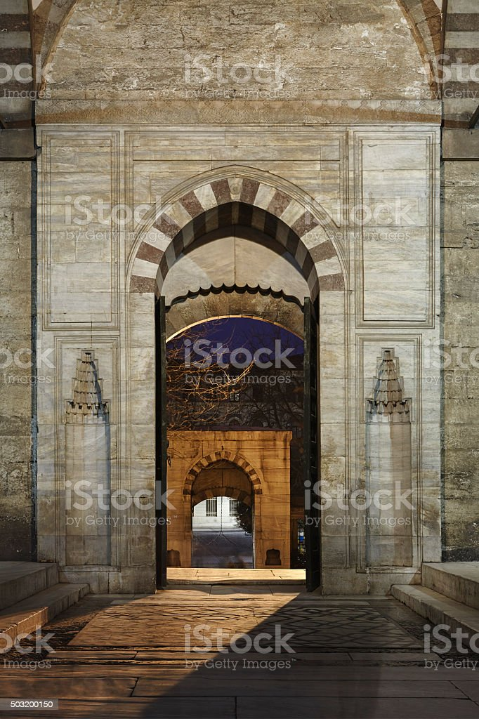 Entrance in the Suleymaniye mosque stock photo