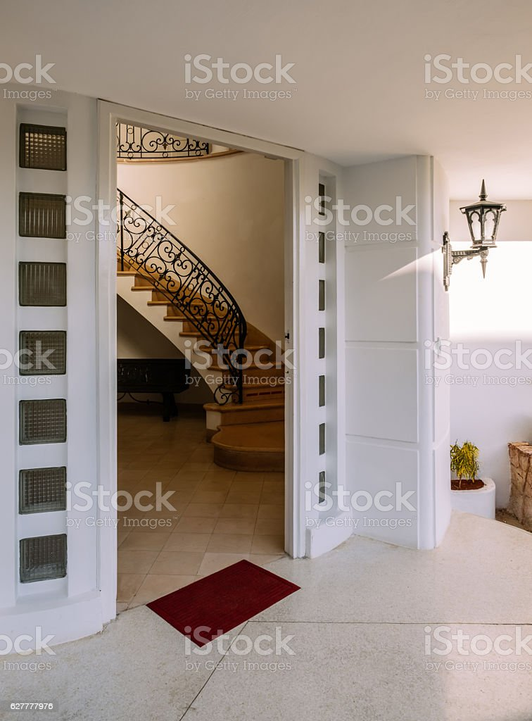 Entrance Interior of Old Havana Villa stock photo