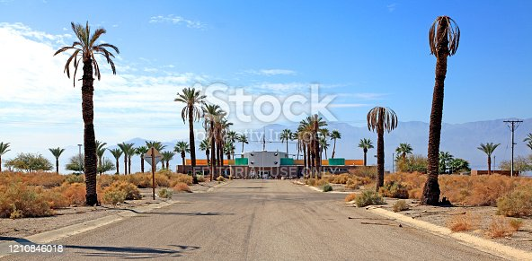 Mecca California, USA- February 25,2014: Entrance into the restored Salton Sea Yacht Club. Designed originally by renowned architect Albert  Frey in 1959. Nautical theme.