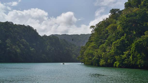 Entrance into the Canyon of Rio Dulce, Guatemala stock photo