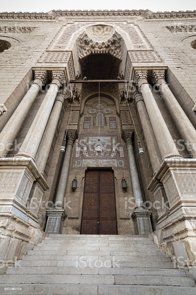 Entrance leading to a historic mosque, Cairo, Egypt stock photo