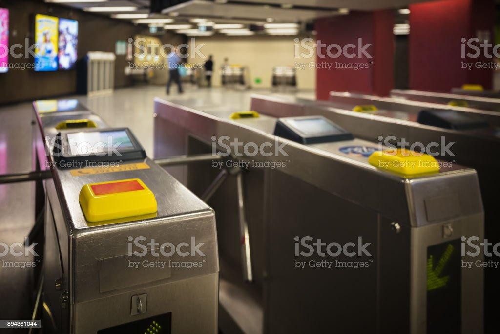 Entrance machine of subway station stock photo