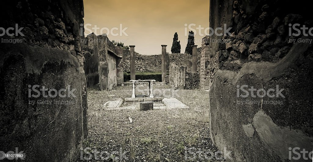 Entrance of a house in Pompeii stock photo