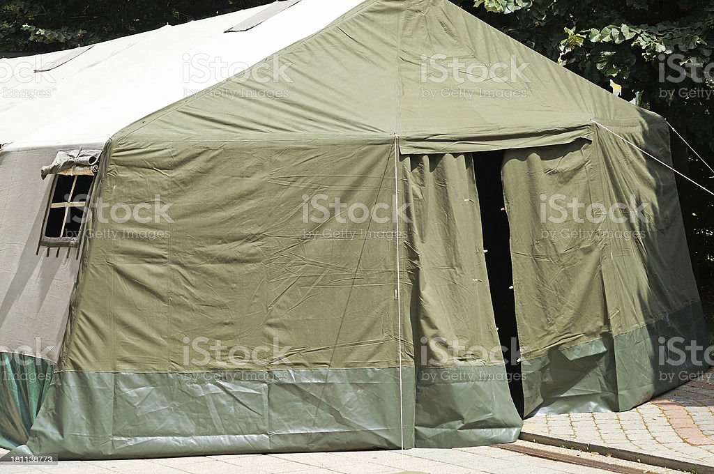 entrance of a military tent royalty-free stock photo