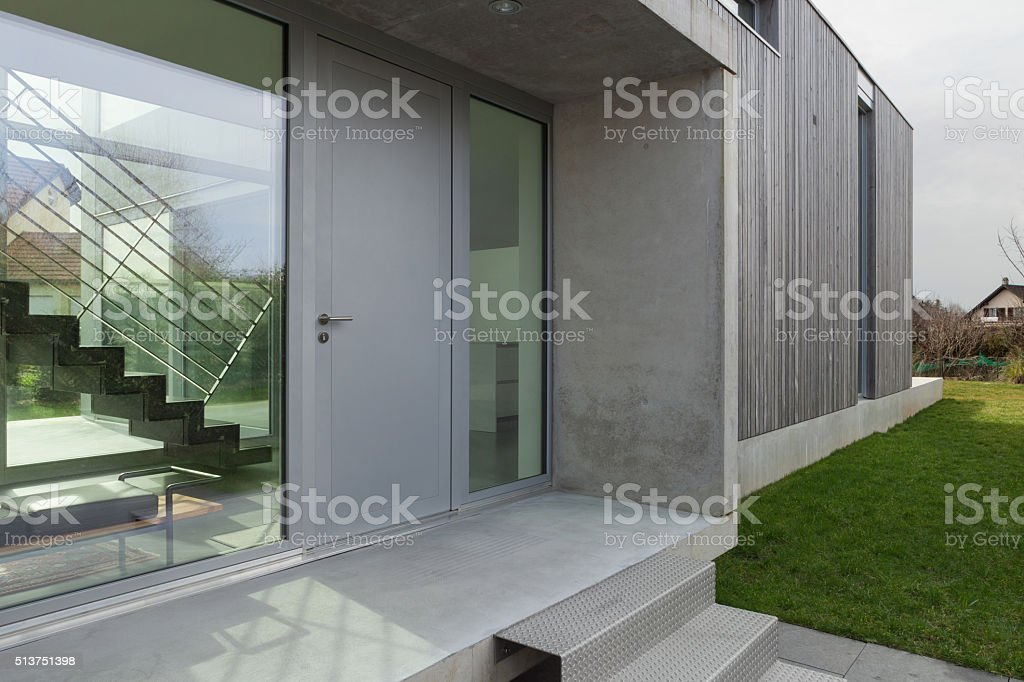 Entrance of a modern house stock photo