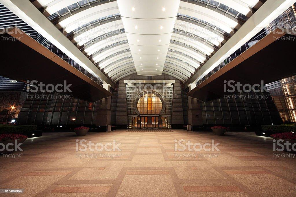 entrance of a skyscraper stock photo