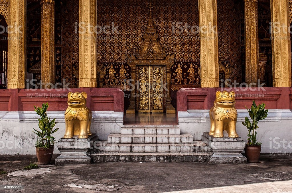 Entrance of a temple in Luang Prabang stock photo