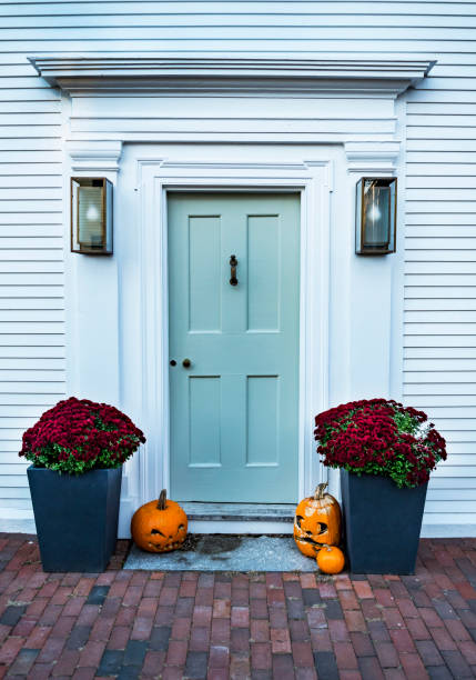 entrance of a typical residential house in Newburyport MA stock photo