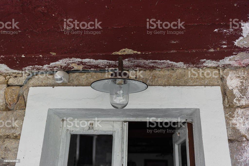 Entrance of a typical stone house in Corsica royaltyfri bildbanksbilder