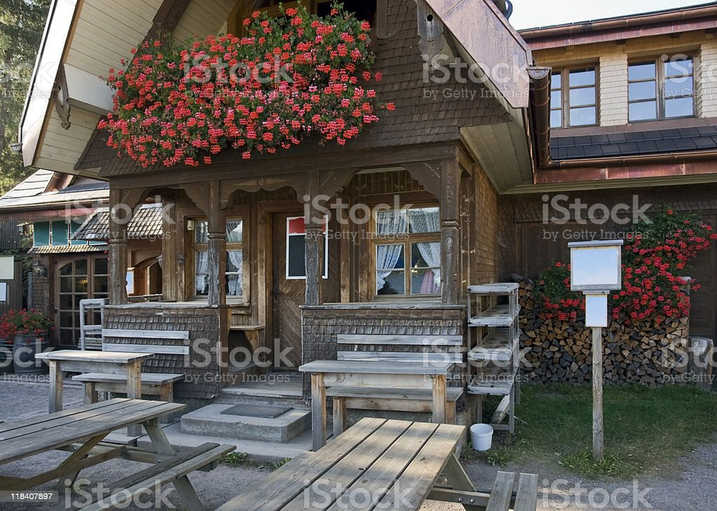 entrance of a wooden house royalty-free stock photo