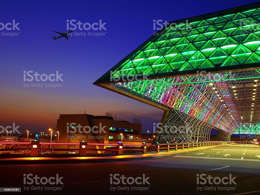 Entrance of airport stock photo