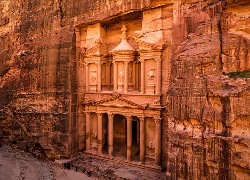 Entrance of Al Khaznet treasury in ancient city Petra in Jordan