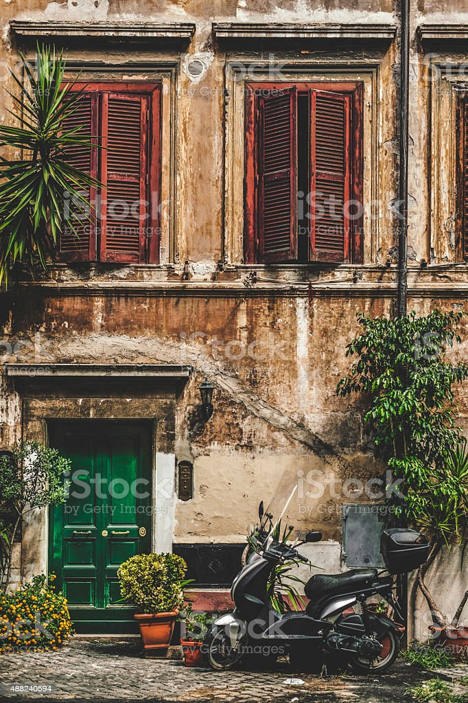 Entrance of an old house in Rome stock photo
