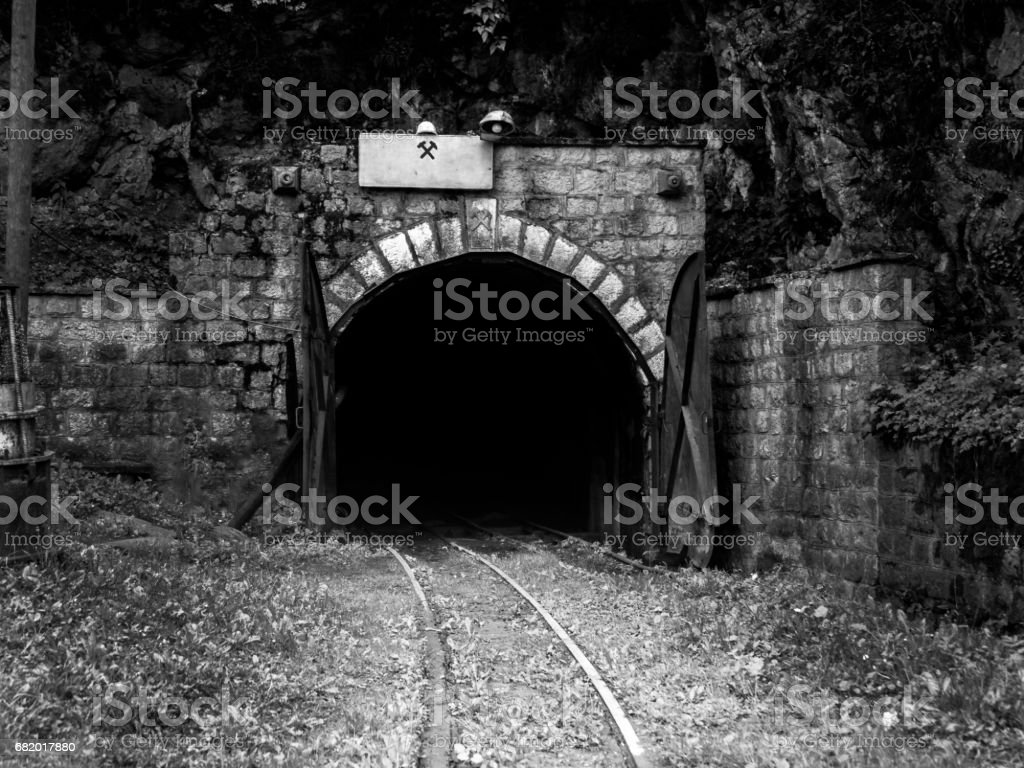 Entrance of an old mine stock photo