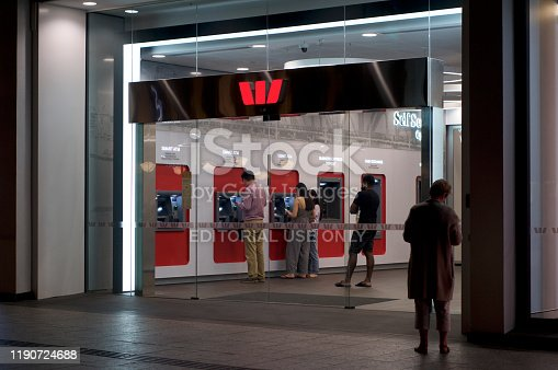 Brisbane, Queensland, Australia - 26th November 2019 : View of the Westpac bank entrance hall in Queenstreet with many many people using their ATM's