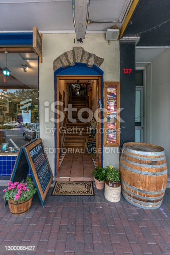 Taupo, New Zealand - March 31, 2018: Entrance of BierKAFE a Crafty TROUT Brewery in Taupo, New Zealand
